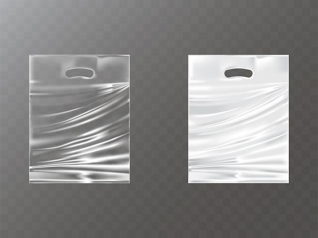 Pacotes de plástico com buraco de mão realistas