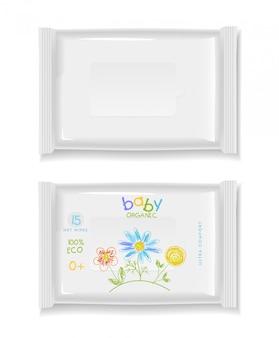 Pacotes de polímero branco para guardanapos. projeto de crianças.