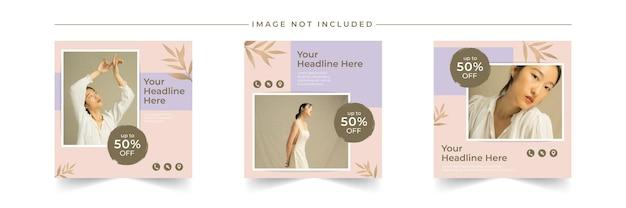 Pacotes de postagens de mídia social de venda de moda