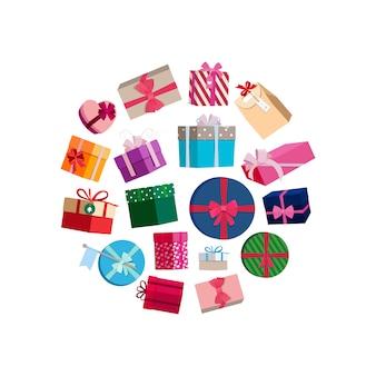Pacotes de presentes e caixas com embrulho colorido redondo. caixa com presentes