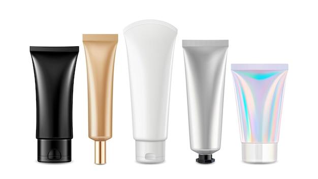 Pacotes de tubos em branco cosméticos de creme definir vetor. loção hidratante higiênica, vasos para pasta de dente e shampoo. modelo de embalagem de produto de gel para cuidados de saúde ilustrações 3d realistas