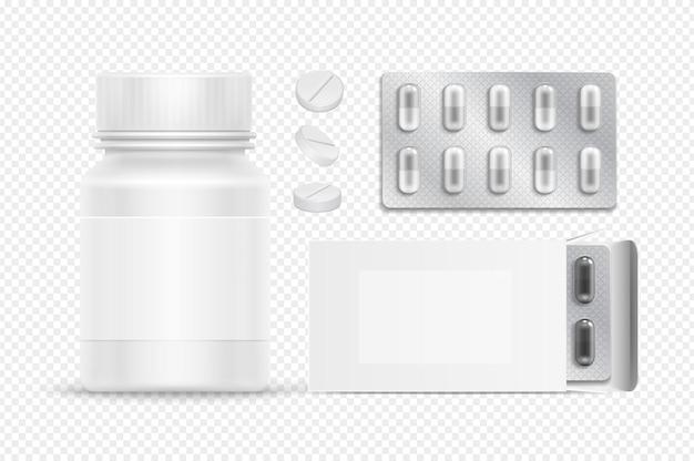 Pacotes médicos. frasco plástico de comprimidos brancos e caixa de papelão. drogas realistas em bolha de prata