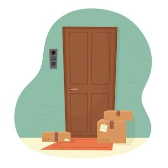 Pacotes na porta do apartamento. entrega das encomendas à sua porta. ilustração em um estilo simples.