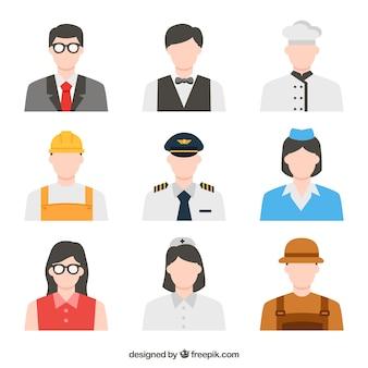 Pacotes profissionais de avatares de trabalhadores