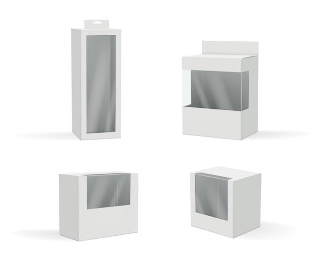 Pacotes realistas. conjunto de caixa de presente com moldura de plástico transparente