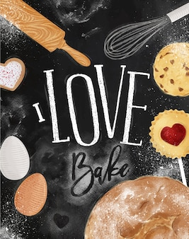 Padaria de pôster com biscoito ilustrado