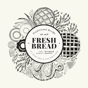 Padaria de vetor mão ilustrações desenhadas. fundo com pão e pastelaria. modelo de design vintage. pode ser usado para o menu, embalagem.