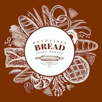 Padaria de vetor mão ilustrações desenhadas. fundo com pão e pastelaria.