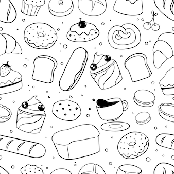 Padaria doodles padrão sem emenda