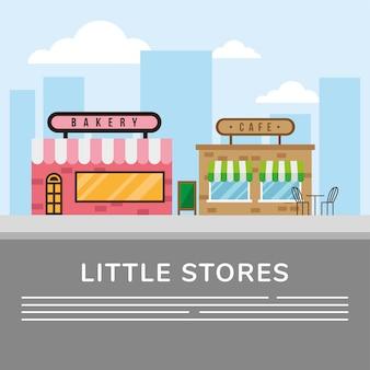 Padaria e café pequenas lojas, fachadas de edifícios, ilustração vetorial, cena de rua, design