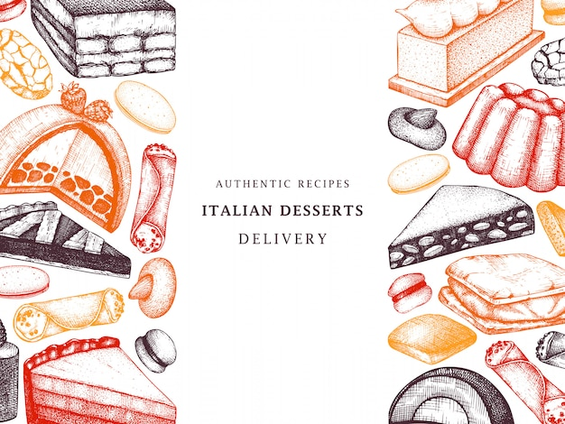 Padaria italiana ou menu de café. mão desenhada sobremesas, bolos, modelo de esboço de cookies. fundo de comida doce italiana para entrega de fast food, restaurante.