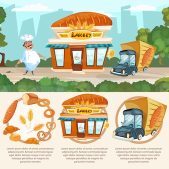 Padaria loja pão fresco entrega padeiro caminhão vector set