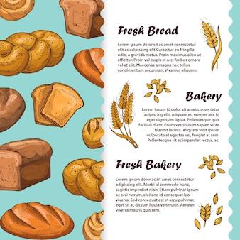 Padaria, menu de café, modelo de panfleto com pão e pão