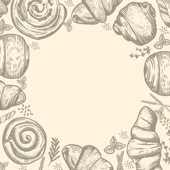 Padaria ou confeitaria com ilustração de pão desenhada à mão