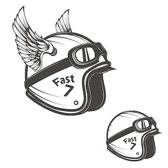 Padeiro capacete com asas. elemento para o logotipo, etiqueta, emblema, sinal, cartaz, camiseta.