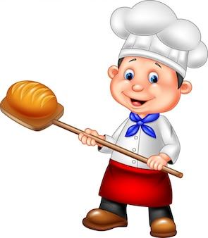 Padeiro dos desenhos animados segurando a ferramenta de casca de padaria com pão