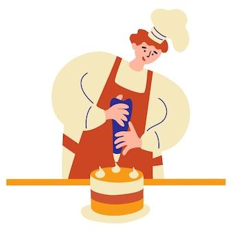 Padeiro feliz confeiteiro preparando bolo de decoração. cozinhando profissão de decoração