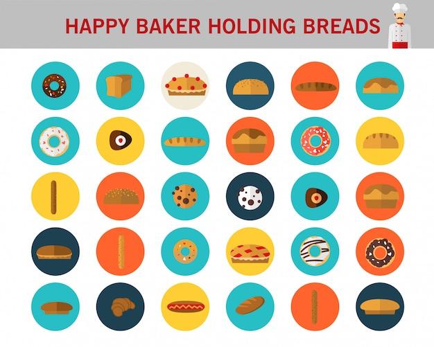 Padeiro feliz que guarda ícones lisos do conceito dos pães.