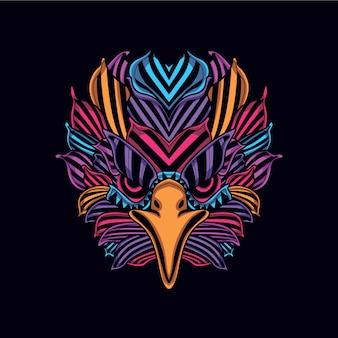 Padrão abstrato cabeça de águia da cor neon