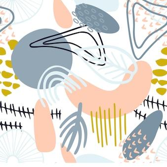 Padrão abstrato com formas orgânicas em tons pastel. textura de fundo orgânico com manchas, folhas, arco-íris. textura de natureza padrão de repetição sem emenda. têxtil moderno, papel de embrulho, design de arte de parede