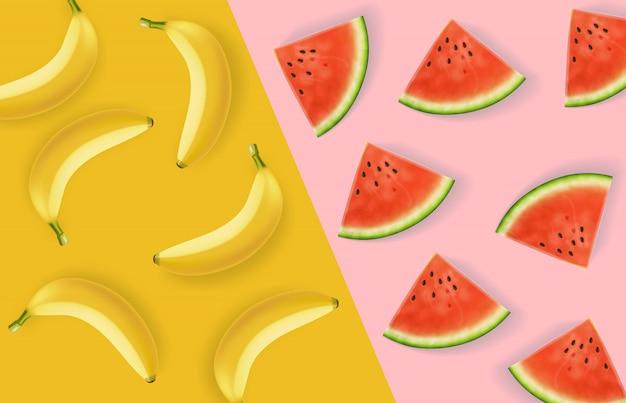 Padrão abstrato de banana e melancia
