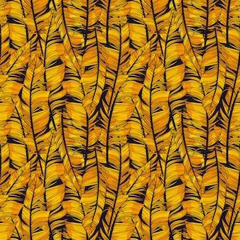 Padrão abstrato de penas douradas. ilustração em vetor sem costura