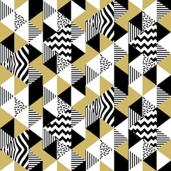 Padrão abstrato de triângulo de memphis sem costura