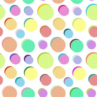Padrão abstrato de vetor sem costura com bolas coloridas em fundo branco