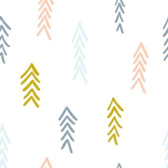Padrão abstrato escandinavo desenhado à mão espinha de peixe em tons pastel. fundo de setas, linhas. padrão sem emenda de colagem com textura da natureza. têxtil moderno, papel de embrulho, design de arte de parede