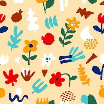 Padrão abstrato moderno, formas geométricas em estilo contemporâneo. flor de padrão floral sem emenda de vetor, folhas em estilo moderno de colagem. formas abstratas ilustração desenhada à mão.