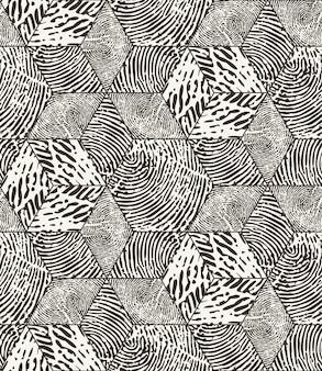 Padrão abstrato monocromático de impressões digitais sem emenda