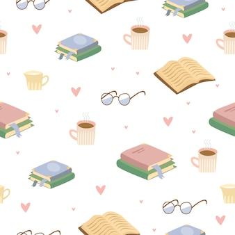 Padrão acolhedor de chá e livros