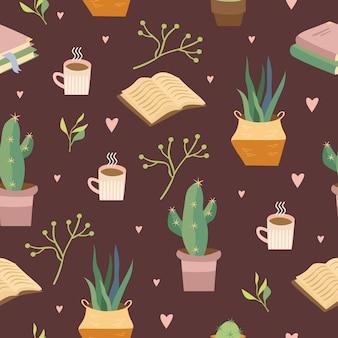 Padrão aconchegante com livros e flores