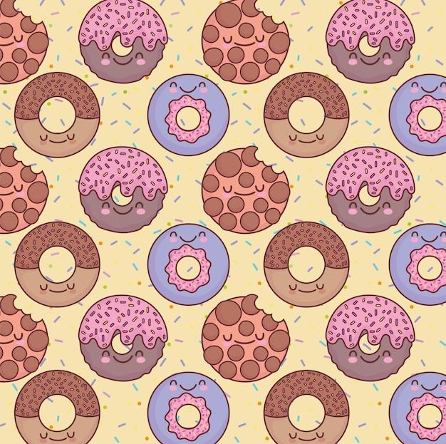 Padrão adorável de biscoito donut fofo Vetor Premium