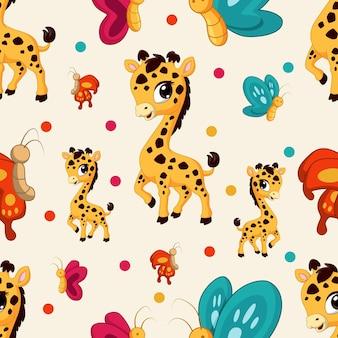 Padrão animal sem costura com girafa e borboletas