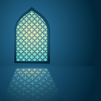 Padrão árabe na janela da mesquita