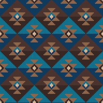 Padrão asteca tribal tradicional. ornamento de tricô sem costura