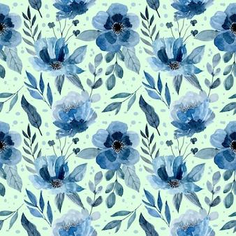 Padrão azul com aquarela floral e folhas