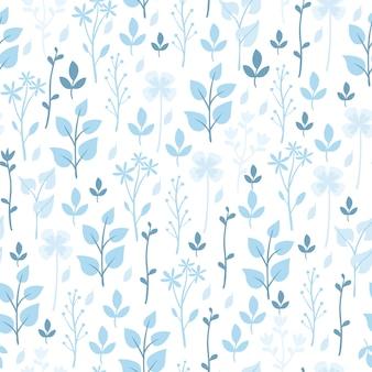 Padrão azul de flores e plantas