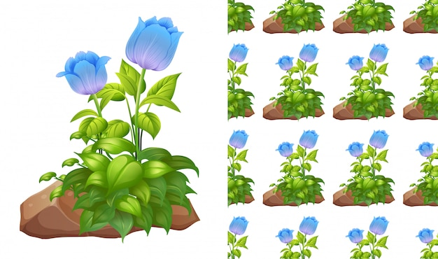 Padrão azul de tulipas e pedras