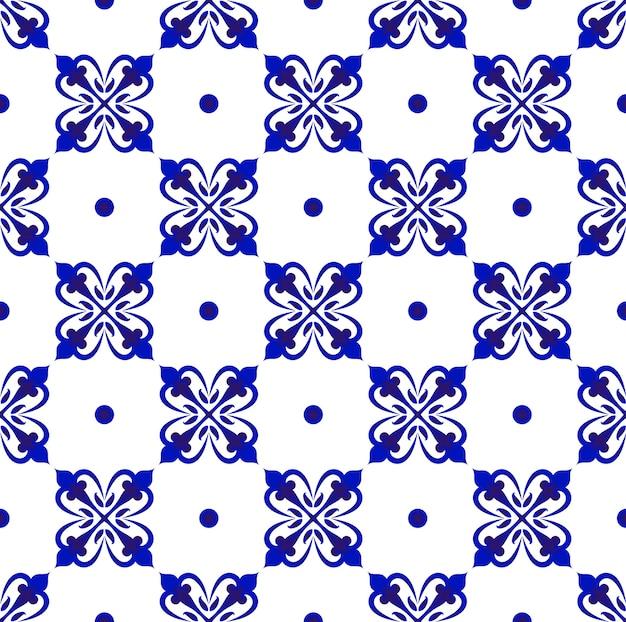 Padrão azul e branco sem costura
