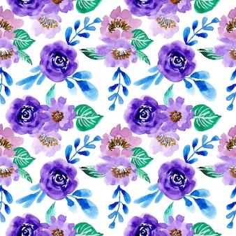 Padrão azul e verde com flor aquarela