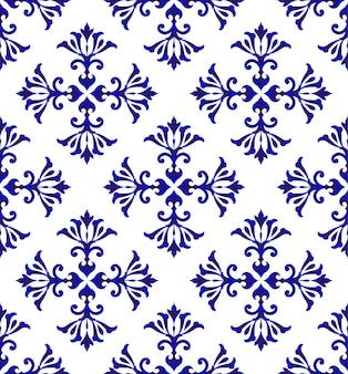 Padrão azul floral cerâmico