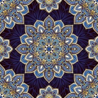 Padrão azul indiano com mandalas.