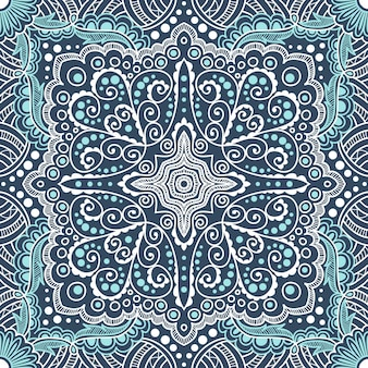 Padrão azul sem costura de espirais, redemoinhos, correntes em um fundo preto