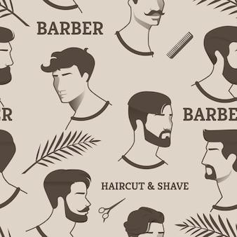 Padrão barbeiro corte de cabelo e barbear com tesoura, pente. desenhos homens jovens, mas com diferentes cortes de cabelo e penteados, com e sem barba, com bigode. mostra diferentes eras cabeleireiro.