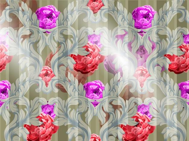Padrão barroco com vetor de flores de aguarela. ornamentos de luxo artesanais