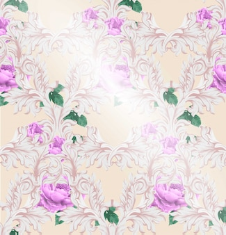 Padrão barroco com vetor de rosas bonitas. ornamentos de luxo artesanais