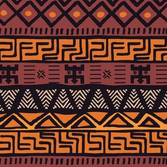 Padrão boêmio colorido e étnico tribal com elementos geométricos, pano de lama africana, design tribal