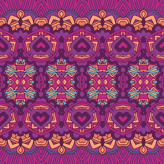 Padrão boêmio tribal étnico colorido festivo abstrato impressão colorido psicodélico geométrico nômade sem emenda.